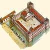 Giorgio Albertini. Illustrazione dell'antico Castello di Palazzo Ducale (X-XI). Probabilmente l'area che oggi occupa il Palazzo era costituita da un agglomerato di costruzioni di diversa forma e destinazione, protetto e circondato da una consistente muraglia rafforzata agli angoli da massicce torri e isolato da un canale.