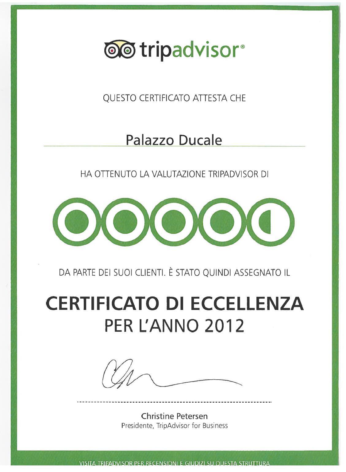 Certificato di Eccellenza Tripadvisor 2012