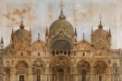 Alberto Prosdocimi, Litografia Facciata della basilica di San Marco, 1881