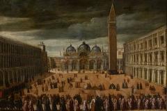 Cesare Vecellio (attribuito) , Processione dogale in Piazza  San Marco a Venezia, 1597 ca.