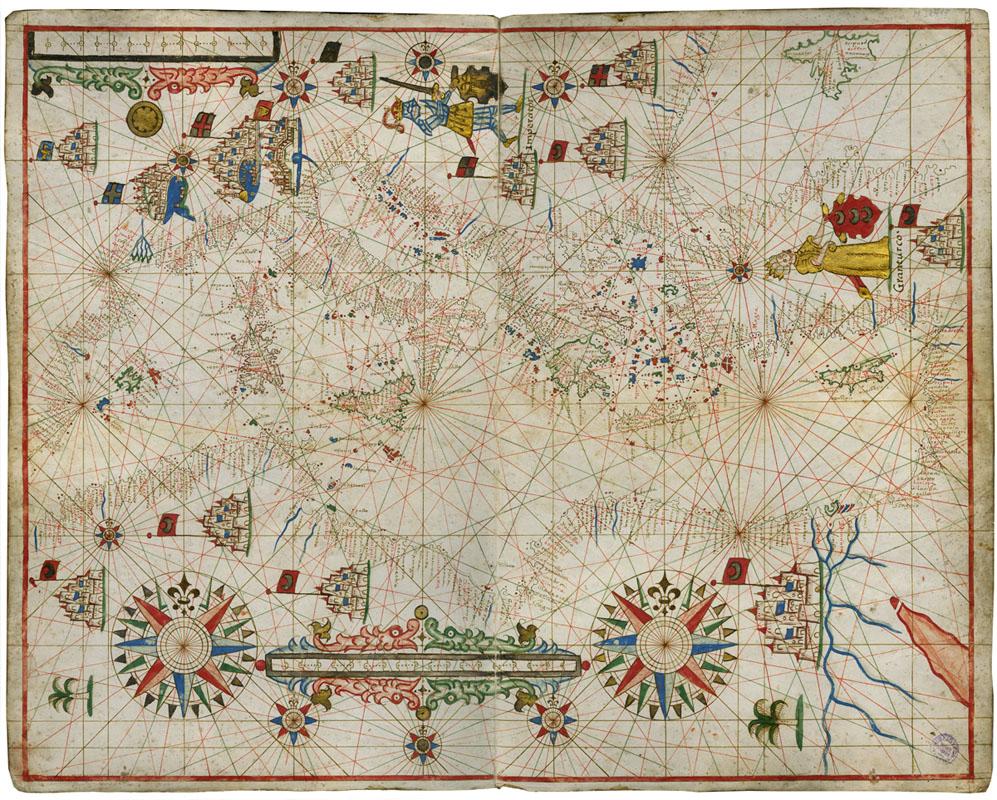 Placido Caloiro et Oliva Atlante nautico in sei carte, 1646