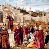 "Vittore Carpaccio ""Predica di santo Stefano"", Olio su tavola, cm 148 x 194, Paris, Louvre Museum, Department of Paintings © RMN-Grand Palais"